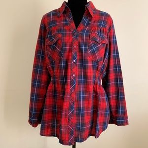 Fashion To Figure red plaid cinched top